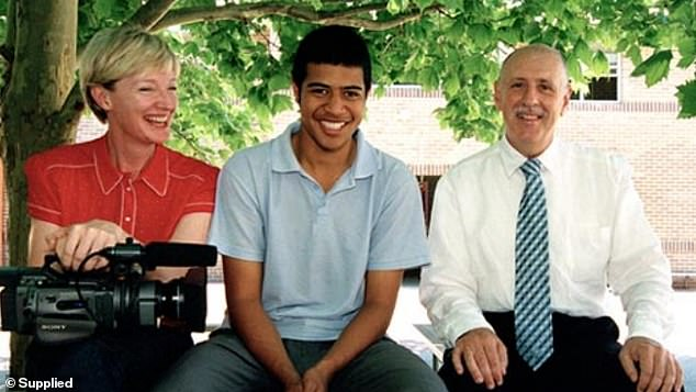 Mahe (centre) is certain the character of Jonah is based on him and his experiences at school. Pictured with Our Boys producer Kerry Brewster (left)