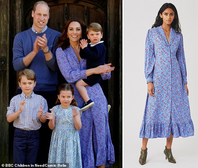 Out in style: Kate wore this floral dress from High Street brand Ghost to applaud the NHS, at a price of £129