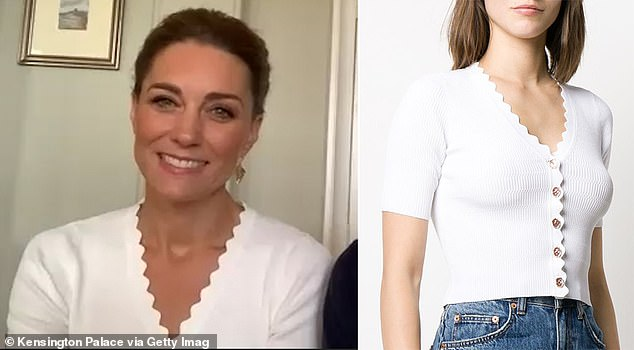 Chic: Scalloped necklines became a hit with buyers after Kate, the love of Zoom of the commitment, where she donned a £155 top from Sandro