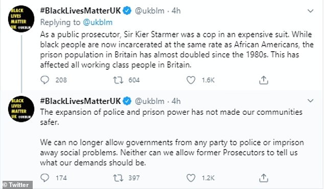 The UK's Black Lives Matter movement responded to Sir Keir's criticism on social media and said he had no right 'to tell us what our demands should be'
