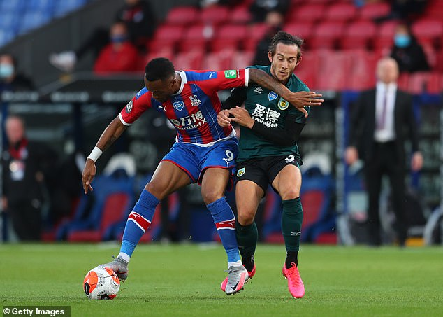Jordan Ayew was lucky to stay on the field after seeing Josh Brownhill with a lost elbow