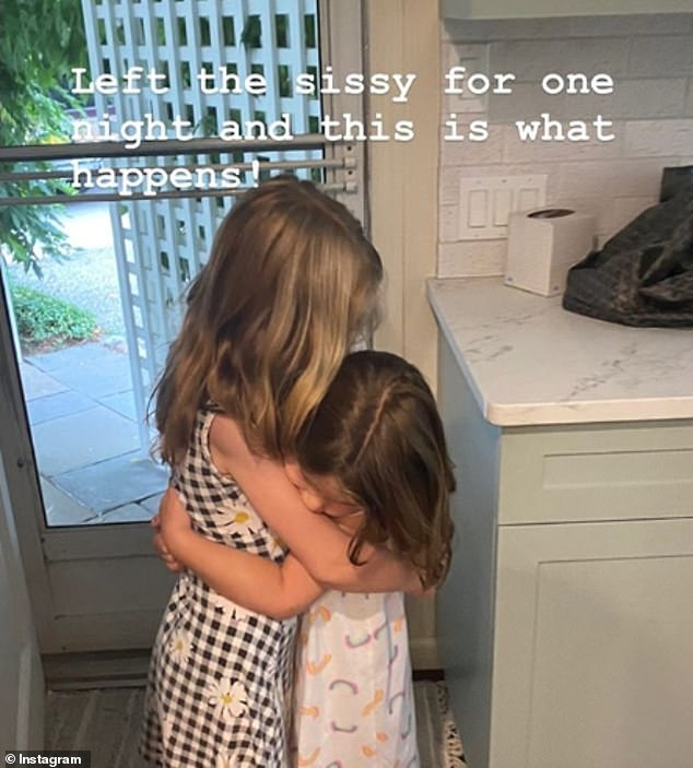 So sweet:Jenna also captured the sweet moment Mila hugged her little sister Poppy after being temporarily separated