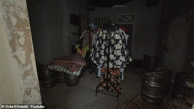 A dressing room showing some props, located towards the back of the iconic Queen Vic pub. The explorers decided to sneak onto the set while it was quiet during lockdow