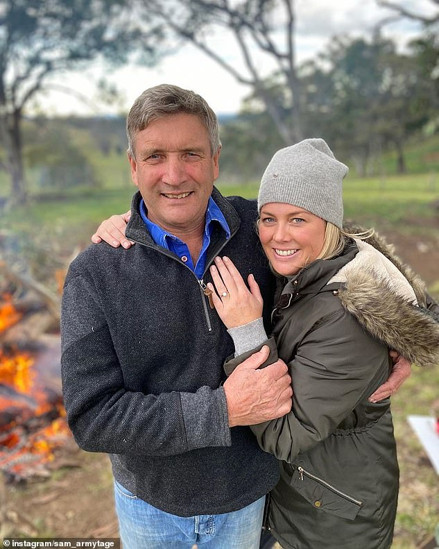 A toast to love! The Channel Seven star uploaded two photos of herself posing in the arms of her fiancé earlier this month, with a diamond ring on her wedding finger