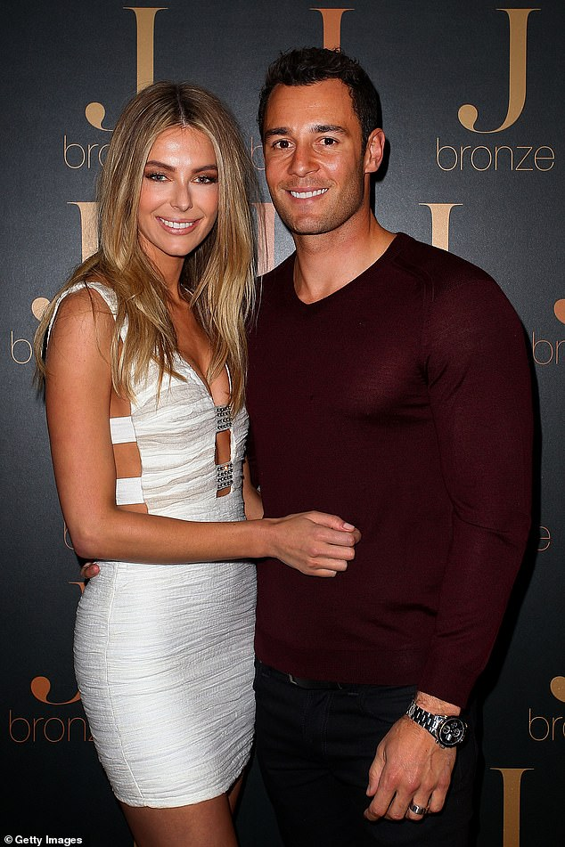 Model-approved mansion: Former Miss Universe Jennifer Hawkins, 36, and her property developer husband Jake Wall, 37, (pictured together) sold their stunning mansion in Newport, Sydney, earlier this month