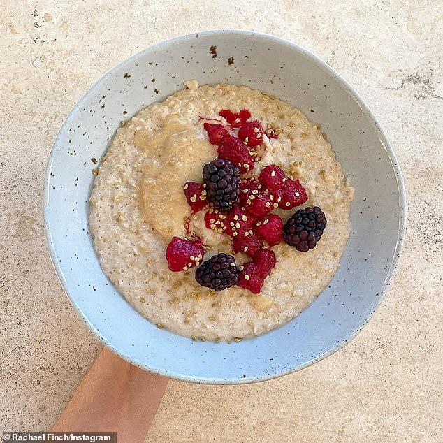 Simple: To make her porridge, Rachael explained all you need is almond milk, almond butter, collagen, vanilla extract, salt, quinoa flakes and berries