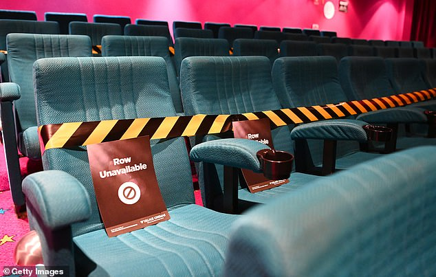 Cinemas will also be able to reopen with social distancing measures in place to reduce the risk of the disease spreading within the community (pictured, a Geelong cinema on June 22)