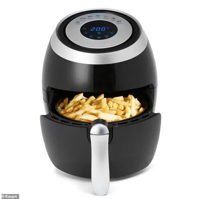 'I use a wire toast holder for cooking chops and chicken schnitzels, instead of overlapping them in my airfryer - you just have to make sure you use tongs to take it out when they are cooked,' he wrote on Facebook (air fryer pictured)