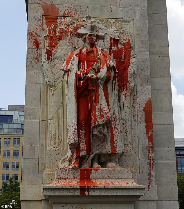 Historic monuments and statues have become a focus of anger and acts of vandalism during Black Lives Matter protests that have occurred in the wake of Minneapolis resident George Floyd's death at the end of May The statue of former US President George Washington is covered in red paint after being vandalized in Washington Square Park in New York, Monday