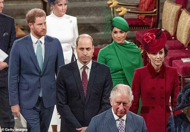 Prince Harry's increased spending habits following his wedding to Meghan Markle helped spark rift with Prince William (pictured left with his brother in March), a new book has claimed