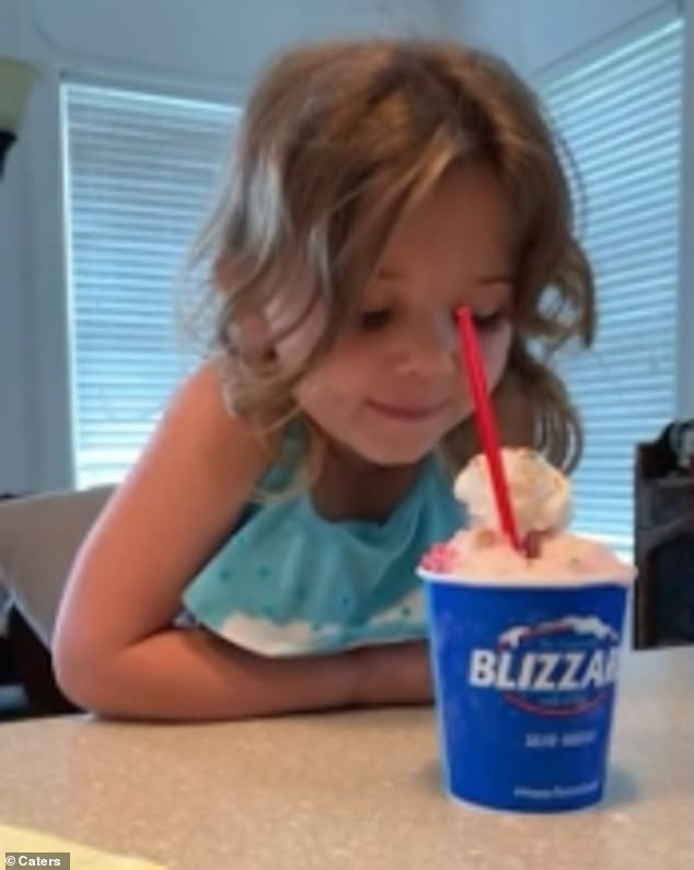 Four-year-old Ceci, fromAtlanta, Georgia, managed to wait patiently before eating her ice cream by whispering to it