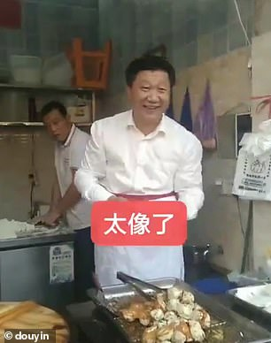The unnamed Chinese man is seen serving pork buns in China