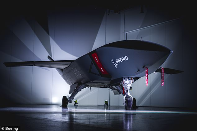 The Loyal Wingman unmanned drone (pictured) will fly alongside fighter jets including Strike Fighters, Super Hornets and Growlers to provide support and intelligence