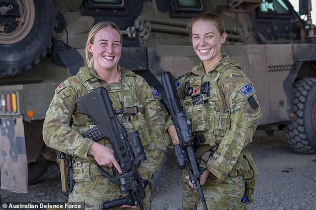 The ADF will be increase by 800 personnel, comprised of 650 Navy, 50 Army and 100 Air Force. Pictured: Australian Army soldiers Private Samantha Dickins (left) and Private Maddison Hamilton, Female Guardian Angels at Camp Qargha, Afghanistan