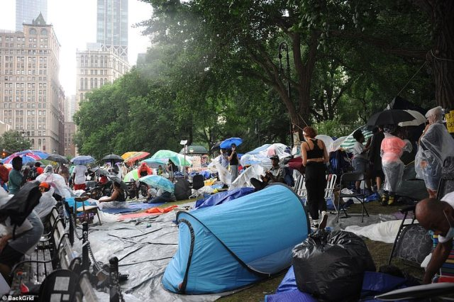 The protests continued in bad weather in the 'no-cop zone' renamed as 'Abolition Park' where protesters are camped outside City Hall in Manhattan
