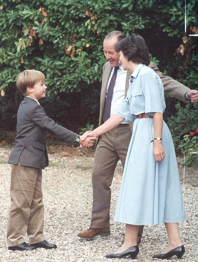 The expert said Prince William would be particularly conscious of his children's mental health, having suffered 'terrible trauma' during his own childhood (pictured, arriving for his first day at Ludgrove Prep school, where he boarded, in 1990)