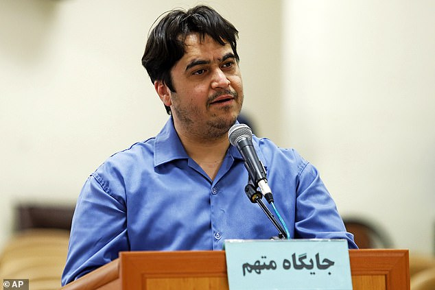 Iranian journalist Ruhollah Zam (pictured on June 2) whose online work helped inspire the country's 2017 economic protests has been sentenced to death