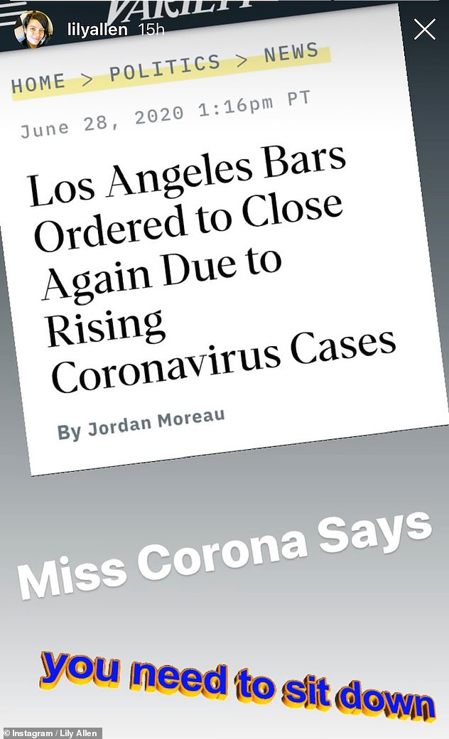 Not impressed: The celeb later went on to share an article about Los Angeles bars having to close again due to rising COVID-9 cases
