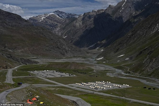 An Indian outpost is pictured along the Srinagar-Leh Highway which leads from the nearby city of Srinagar into the disputed region