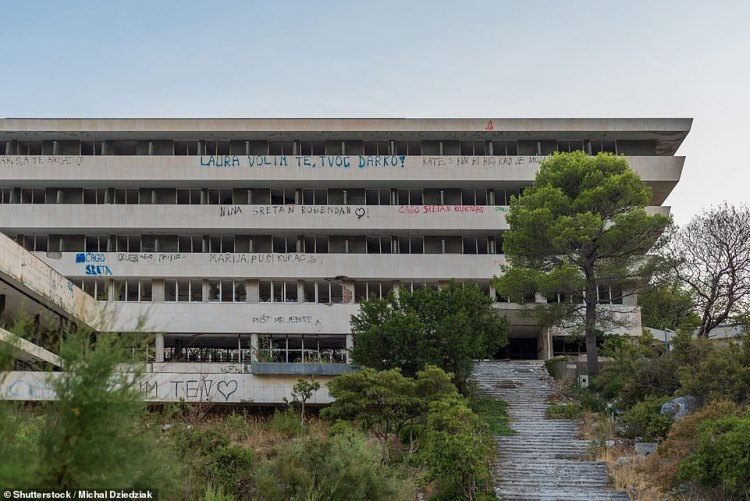 The Hotel Pelegrin, pictured, was once the largest hotel on the Adriatic coast. Now it is an eerie shell