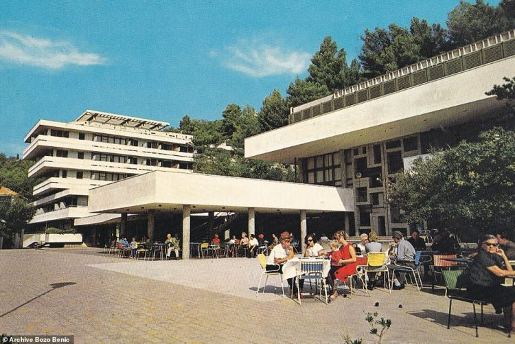 A shot that appeared on a postcard from 1972, showing holidaymakers soaking up the sun at the HotelGoričina