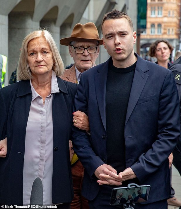 David Challen, right, with his mother Sally Challen pictured on June 7th 2019 after her conviction for murder was reduced to manslaughter for the killing of her abusive husband Richard. David today criticised television presenter Richard Madeley over advice offered in his Agony Uncle column for the Telegraph newspaper