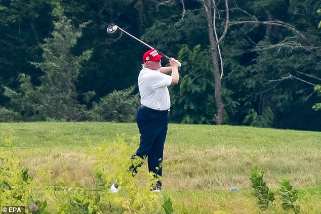 Joe Biden will go after President Trump (pictured) for going golfing, Bloomberg News reported. Trump spent both Saturday and Sunday at his Virginia golf club after cancelling a planned trip to his Bedminster, New Jersey facility