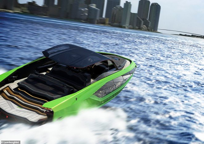 Billed as a 'Lamborghini on water', the yacht measures in at a whopping 63 feet and tips the scales at 24 tonnes