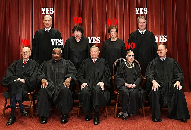 How Roberts led conservative majority: The Chief Justice was backed by (back row) Neil Gorsuch and Brett Kavanaugh and (front row) Clarence Thomas and Samuel Alito