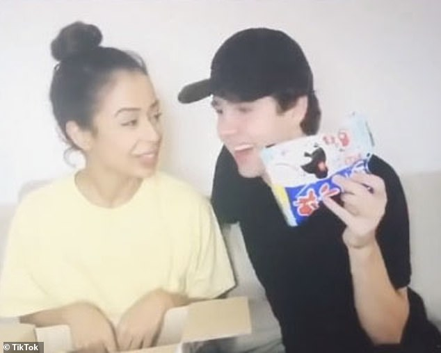 Controversy: Koshy and her then-boyfriend David Dobrik, 23, are pretending to speak Japanese while testing Japanese candy in a since-deleted video from 2016