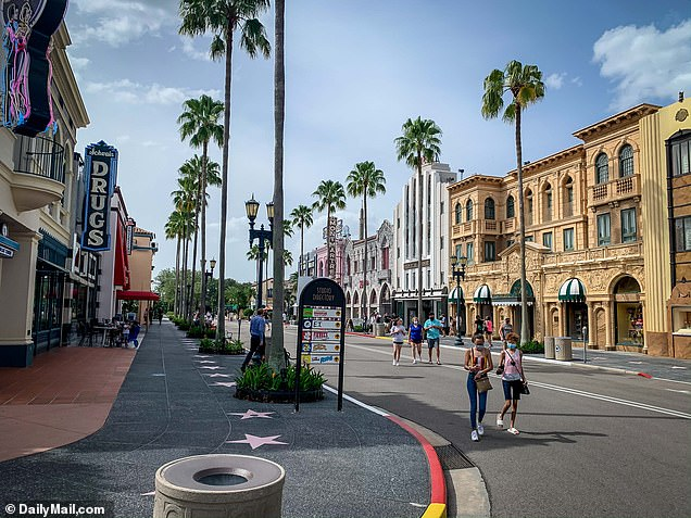 Universal Studios Florida is seen with less patrons than usual in Orlando as new COVID-19 cases surge to record highs throughout Florida and the US, June 27