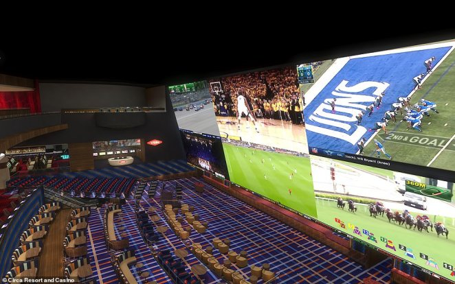 The three-storey 'stadium-style' sportsbook, pictured, which will have a 78-million-pixel high-definition screen - more than any other in Las Vegas