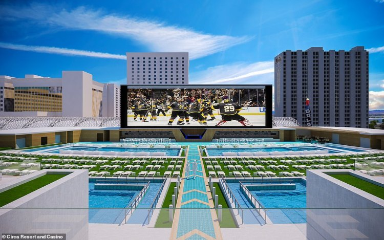 The incredible fifth-floor rooftop pool area, which is described as a 'pool amphitheatre'. It boasts a huge screen, where guests can watch sports and other big events