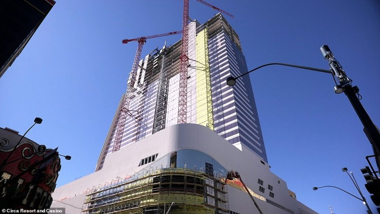 The Circa Resort and Casino under construction in downtown Las Vegas. It is scheduled to open in October