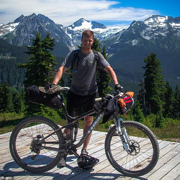 Matthew Bunker (pictured), from Seattle, was skiing behind his partner near Thumb Rock on the north side of Mount Rainier, at about 10,400 feet, when he fell on Friday