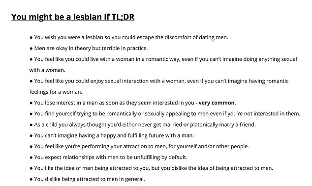 Checklist:The second to last section, 'You might be a lesbian if TL;DR,' features a list of signs that a woman's attraction to men may be the result of compulsory heterosexuality