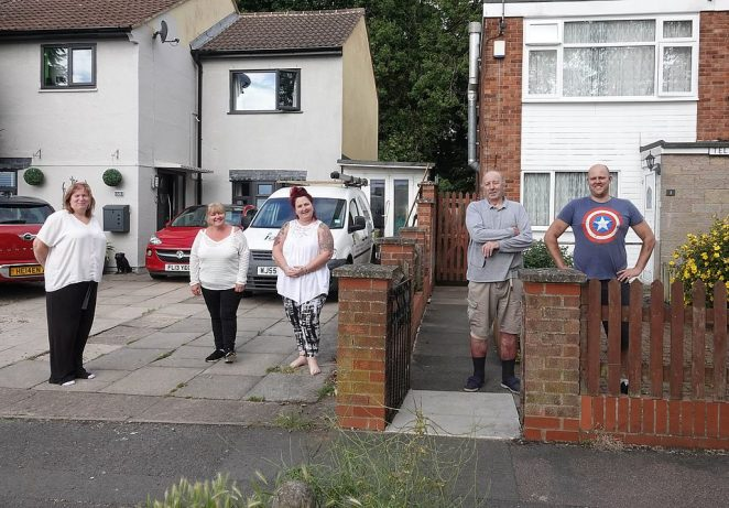 Lisa Jones, 52, Shelly Evans, 56, and Helen Bale, 49, remain in lockdown in Leicester while their neighbours David Blohm, 74, and Emile Gryglewski do not, as the new border runs through their street