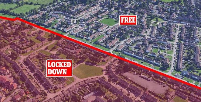 Pictured: Where the border cuts across Scraftoft in Bowhill Grove, Leicester after Matt Hancock announced a local extension of lockdown