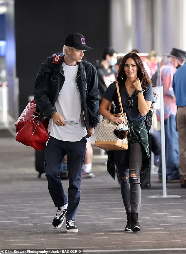 Going places:No word on where they were heading to but no doubt it will be a romantic getaway as the two have spent most of quarantine in Southern California