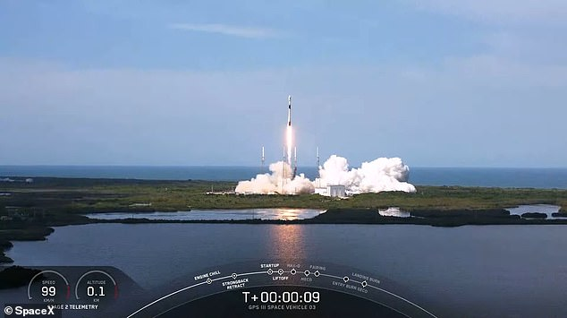 'SpaceX go, GPS satellite go,' the ground crew said over the live stream when the countdown hit zero and the rocket took off towards space