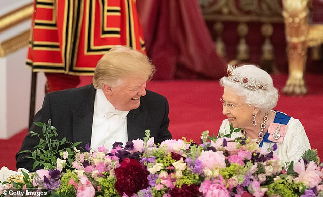 President Donald Trump and Queen Elizabeth II spoke amid a report that the president has berated female world leaders in past conversations - the two are seen above on June 3, 2019 during a state dinner at Buckingham Palace