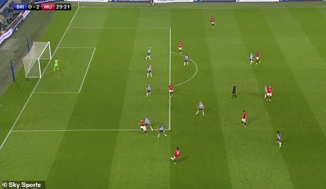 Luke Shaw also appeared to have been offside in a very tight call before Fernandes had struck