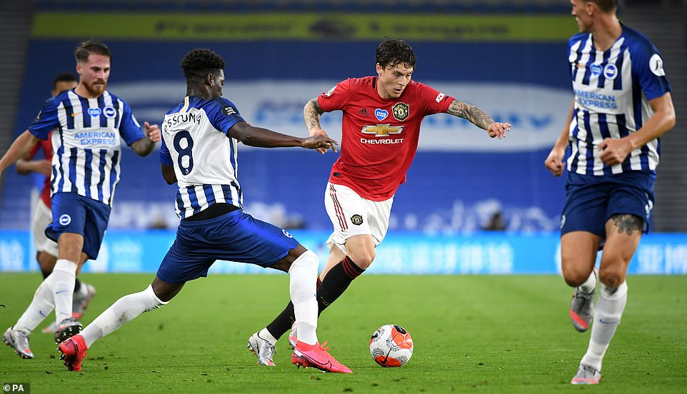 Centre-back Victor Lindelof drives forward from defence as the visitors take charge of the match early on