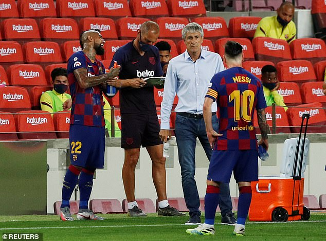 Barcelona manager Quique Setien looks dejected as Barca move one point behind Los Blancos