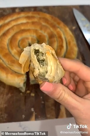 She said the spanakopita is 'beautiful, buttery and crunchy on the outside, and you've got this gorgeous spinach and ricotta mix on the inside'