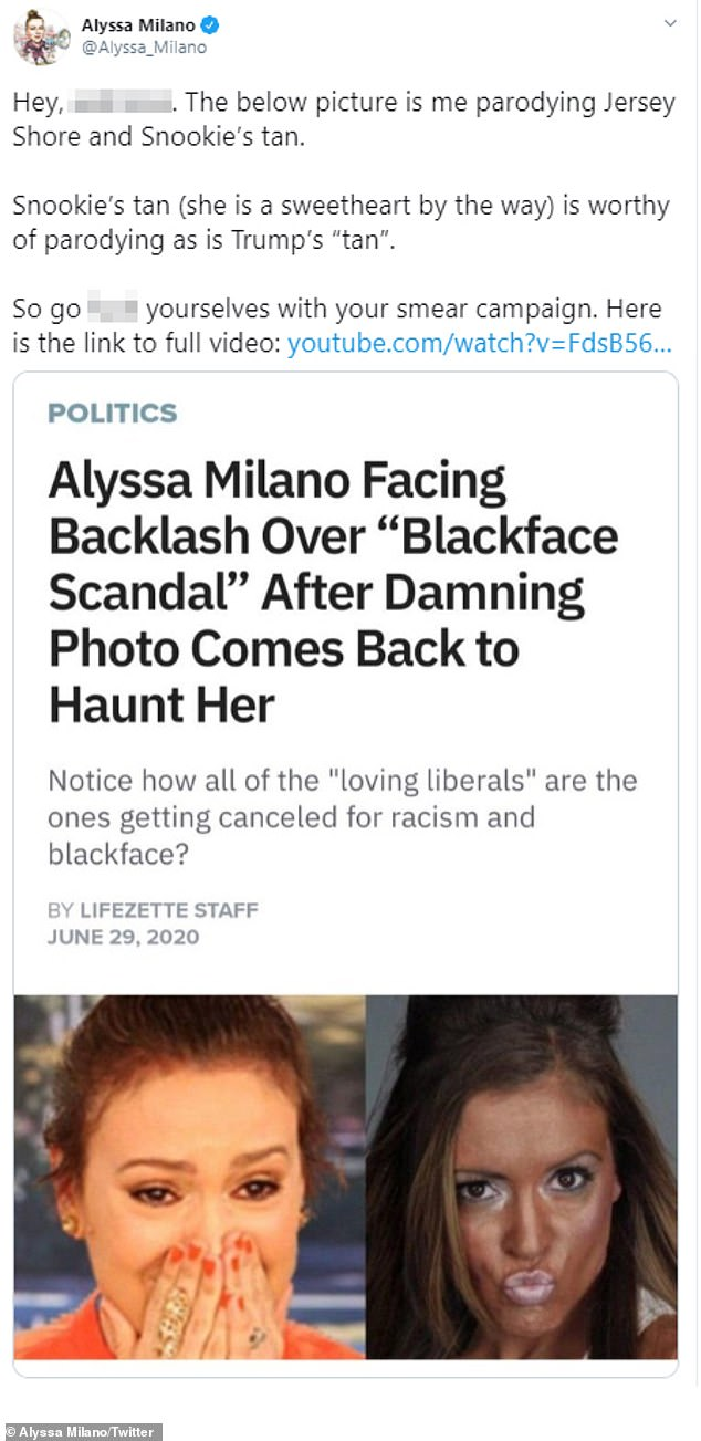 Not taking it: Alyssa Milano has fired back at critics trying to take the activist actress down over a 'blackface' video
