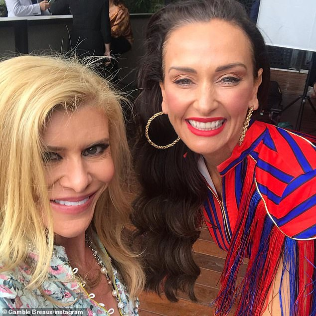 Helpful suggestions: In May, Gamble seemed optimistic the new season would go ahead, telling the Herald Sun she had offered her backyard for garden parties to assist with social distancing. Pictured here with Kyla Kirkpatrick