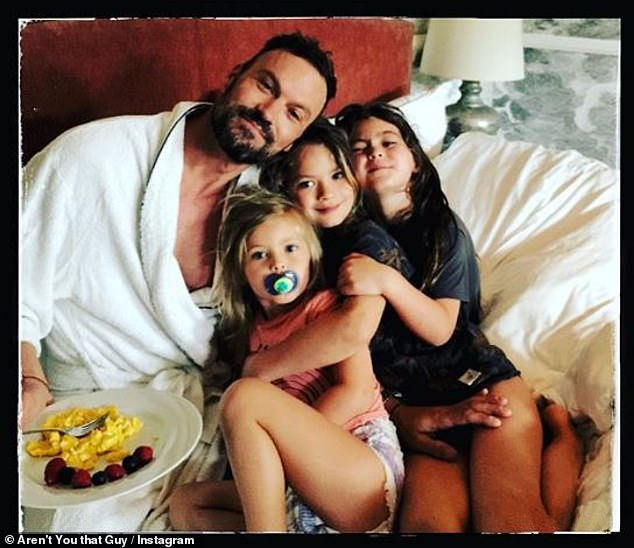 Papa happy: Green has shared a photo of him and his three girls - Noah, 7, Bodhi, 6, and Journey, 3 - the day of the feast of the fathers, adding that his 18 year-old son Kassius (with Vanessa Marcil), has sent him a text message the day before.