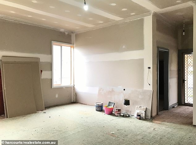 The inside of the two-bedroom property is in the middle of being renovated