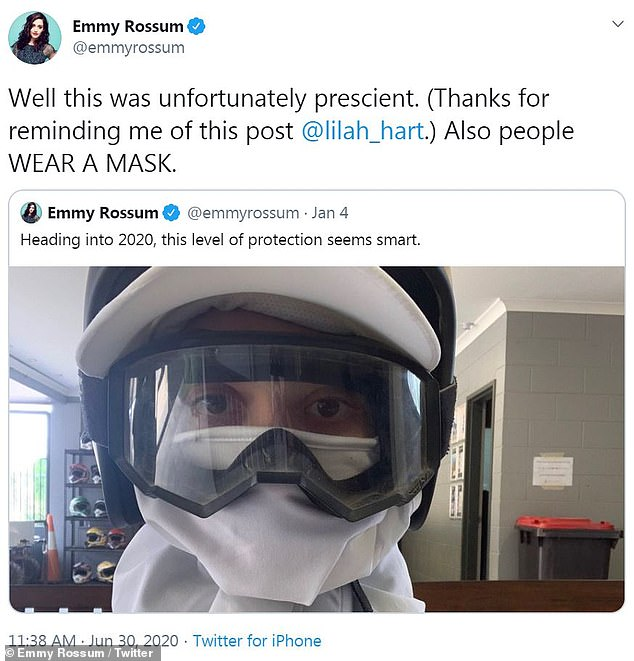 On point joke:Early in January 2020, Emmy jokingly shared a picture in ski goggles, a helmet and white cloth face covering saying that 'level of protection' seemed 'smart' for 2020